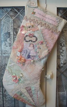 Adorable Patchwork Stocking in Pastels~I would Love to own this~❥