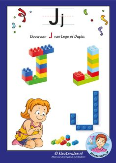 Package over the letter J page make an I from lego or duplicate, kindergarten idea, free . Lego Letters, Letters For Kids, Alphabet Letters, Preschool Literacy, Homeschool Kindergarten, Lego Duplo, Letter J Activities, Letter School, Free Lego