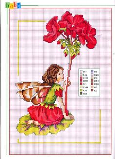 Cross stitch - fairies: Geranium fairy - Cicely Mary Barker - close-up segment (chart)