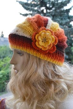 Knitted autumn rainbow cap with flower  / hat by DosiakStyle ♡ ♡
