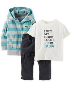 Carter's Baby Boys' 3-Piece Cardigan, Tee & Cargos Set - Kids - Macy's