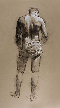 Robert T. Barrett, standing male posterior back figure, charcoal and chalk drawing. roberttbarrett.com
