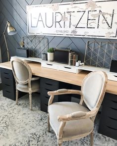 Home Office Space, Home Office Design, Home Office Decor, Home Decor, Office Ideas, Hack Ikea, Ikea Office Hack, Desk For Two, Desk Hacks