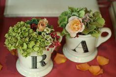 代官山プティ・ブドン様への装花 ジュリアと秋色あじさい、ろうけつ染めにあわせて : 一会 ウエディングの花