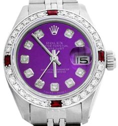 Rolex Datejust Oyster Perpetual Stainless Steel/18K White Gold Purple Diamond/Ruby Watch