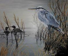 Grand Héron bleue Huile sur toile 44x48 pouces Robert Frank, Lake Side, Bird, Animals, Decor, Blue Heron, Oil On Canvas, Drawings, Animales