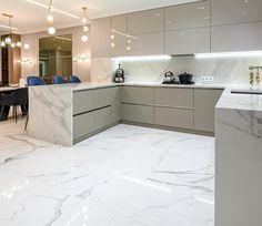 Marble Floor Kitchen, Kitchen Flooring, Modern Kitchen Design, Kitchen Designs, Tile Floor, Tiles, Room Tiles, Cuisine Design, Tile