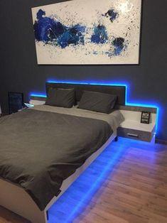 Inspirations Mens Bedroom Ideas - All Bedroom Design Bedroom Setup, Boys Bedroom Decor, Bedroom Lamps, Room Ideas Bedroom, Master Bedroom, Diy Bedroom, Boy Bedroom Designs, Led Bedroom Lights, Bedroom Ideas For Teen Boys