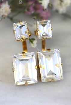 Ear Jacket Earrings,White Swarovski Crystal EarJackets Earrings,Bridal Crystal Earrings,Back Front Earrings,Ear Climbing Bridal Earrings Top Quality