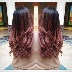 25 Best Hairstyle Ideas For Brown Hair With Highlights: Dark brown hair with pale pink ombre