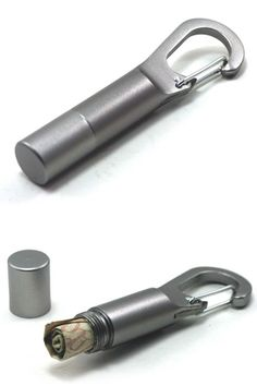 Travel Stash: A Carabiner Clip And Storage Container That's Also A Bottle Opener.