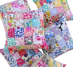 These Log Cabin Liberty Tana Lawn Pincushions measure just 6 inches x 6 inches and are from the book Liberty Love: 25 Projects to Quilt & Sew Featuring Liberty of London Fabrics - by Alexia Marcelle Abegg.