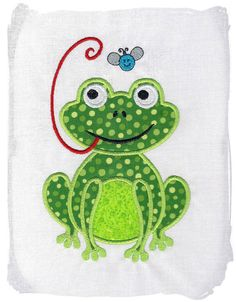 Frog Machine Embroidery Applique by pinkfrogcreations on Etsy