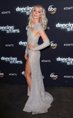 Julianne Hough wows in this silver gown with a thigh-high slit
