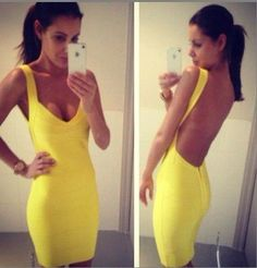 Backless spaghetti strap HL bandage dress sexy night club wear open back ladies elastic yellow v neck party mini dress E Bandeau Outfit, Bodycon Dress Parties, Dress Party, Valentino Rockstud, Yellow Dress, Lady In Red, Dress Outfits, Evening Dresses, Sexy Women