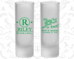 Country Wedding, Frosted Shooter Glass, Monogram Wedding, We tied the knot, He Took a Shot (561)