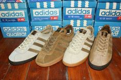 In the early Adidas started to produce leisure shoes. California, Florida, Tobacco and Riviera are from Adidas' first leisure shoe range. Out of these four, Tobacco was most successful. Adidas Og, Adidas Retro, Vintage Adidas, Adidas Sneakers, Groom Shoes, Bride Shoes, Adidas Originals, The Originals, Adidas Samba Trainers