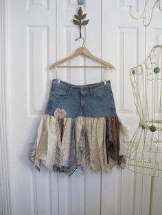 Boho pixie skirt denim skirt Upcycled denim small by ShabyVintage, $44.00