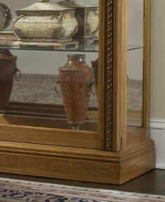 Two Way Sliding Door Curio Cabinet - Estate Oak