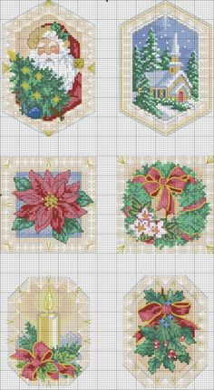 Cross-stitch Christmas Ornaments... no color chart, just use pattern chart colors as your guide.. or choose your own colors.... Gallery.ru / Фото #9 - новорічне - Katrona
