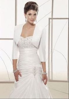 2015 satin 3/4 sleeve #shrug jacket #wedding bride #bolero coat shawl wraps,  View more on the LINK: http://www.zeppy.io/product/gb/2/262199356338/