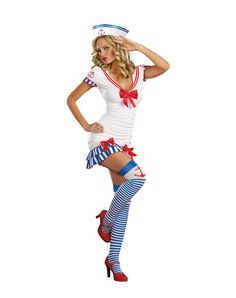 Sailor Pinup Adult Women's Costume at Spirit Halloween - Men will jump ship for you in this Sailor Pinup Adult Womens Costume. They'll need their binoculars when they catch a glimpse of you in the abyss wearing retro pin-up style dress with front shirring and layered ruffle back, sexy sailor hat, striped thigh highs, and garters. Hope they know how to swim! Make it yours for $49.99.