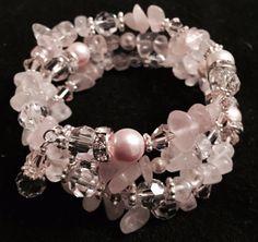 Beautiful Rose Quartz Bangle Bracelet for Valentines Day.