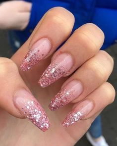 25 +> Nail Fashion 2019 - Acryl Nägel Sarg - The Effective Pictures We Offer You About rainbow nails A quality p Coffin Nails Glitter, White Acrylic Nails, Aycrlic Nails, Summer Acrylic Nails, Best Acrylic Nails, Glitter Nail Art, Manicures, Pink Nails, Cute Nails