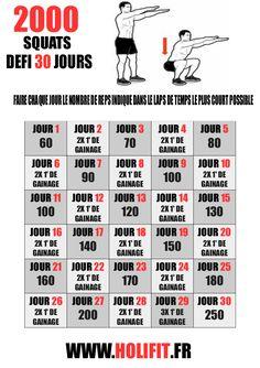 Défi 30 jours 2000 squats - HOLIFIT | Coach sportif : HIIT, Conseil musculation, Programme, Perte de poids, Gainage, Stretching