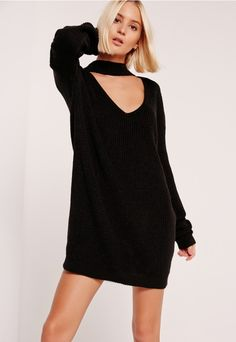 Get choked up in knitwear and let this mini dress in a versatile black hue and 90's choker neck do the talking.