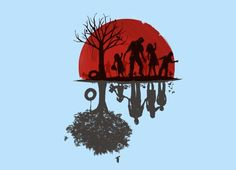 """""""A Family Once"""" by Jay Fleck. Awesome zombie duality t-shirt. Striking black & red image on white."""