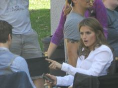 Stana Katic at the shoot of Castle Season 5 on August 9, 2012 - Making a point
