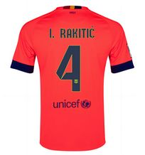 14-15 Football Shirt Barcelona Cheap I.Rakitic #4 Away Pink Jersey [A161]