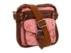 brown and pink satchel purse