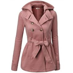 J.TOMSON Womens Toggle Hooded Double Breasted Trench Coat