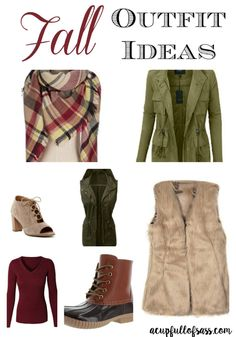 Fall Outfit Ideas. I love the military vest and blanket scarf together!