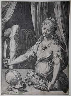 Agostino Carracci - Judith with the head of Holofernes (etching) - wga Art Painting Images, Painting & Drawing, Art Paintings, Rage Art, Celtic Tarot, Judith And Holofernes, A Level Art, Woman Drawing, Ancient Rome