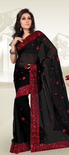 CHARMING BLACK DESIGNER BORDER PARTY WEAR SARI INDIAN BOLLYWOOD GEORGETTE SAREE #SareeStudio #SareeSari #PartyWear