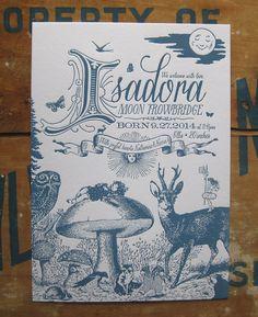 Springtime Mystical Flora & Fauna Letterpress Birth Announcements