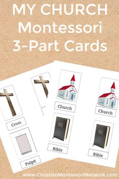 My church Montessori 3-part cards for language development in preschoolers.