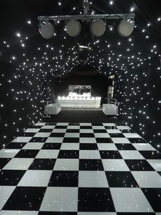 Black starcloth linings, black & white dance floor, zip bar, lighting - all makes a great party marquee. Just add drinks, nibbles, music and friends!