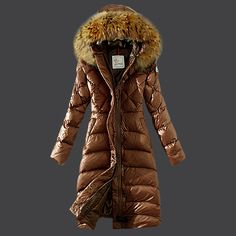 With the first class material,fashion in design and comfortable for wear,'2013 New France Moncler Down Coat Women Hooded Windproof Coffee' are filling with the white goose down,very comfortable for wearing,it is a nice choice fo