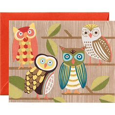 Owls Stationery   Bird Art   CALENDARS.COM - $13.50 Paper Source have turned its new owl design into charming stationery. Paired with papaya envelopes for stylish personal correspondence. Send a thank you, a love note, or just a quick hello with these adorable characters. Hoot hoot!