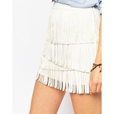 Pepe Jeans Fringe Leather Look Mini Skirt ($120) ❤ liked on Polyvore featuring skirts, mini skirts, white skirt, white mini skirt, short skirts, high waisted mini skirt and high-waisted skirts