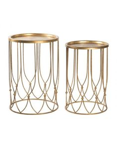 Wish Bone Side Table Set in Gold design by Aidan Gray