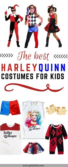 Harley Quinn outfit for teens and tweens. Some good ideas whichever Harley Quinn era costume your child wants to wear. Different costume types like hoodies, onesies, dress or shorts. check it out!