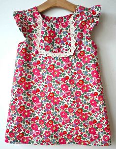 Pink Betsy Liberty Print A line dress - great inspiration site - such cute british dresses, liberty