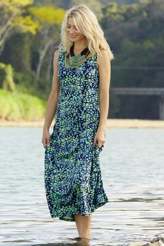 Snake Print Traveler Knit Maxi Tank Dress. The chic pattern on this long dress stands out no matter where you wear it.