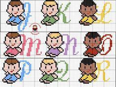 Monograma infantil ponto cruz parte 2 (2-5), bebê, pattern cross stitch baby