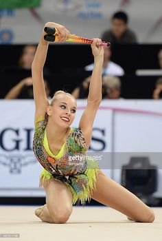Yana Kudryavtseva of Russia competes at the Clubs finals during the 34th Rhythmic Gymastics World Championships on September 10, 2015 in Stuttgart, Germany.